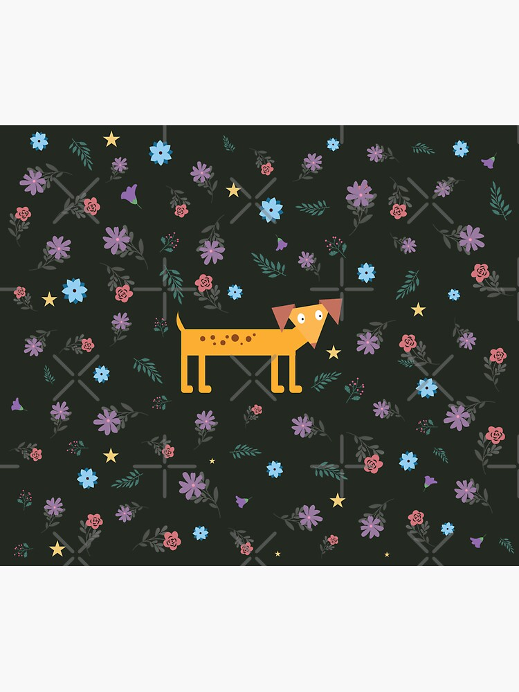 Dogs Are Awesome Midnight Dachshund Floral Pattern by chanzds