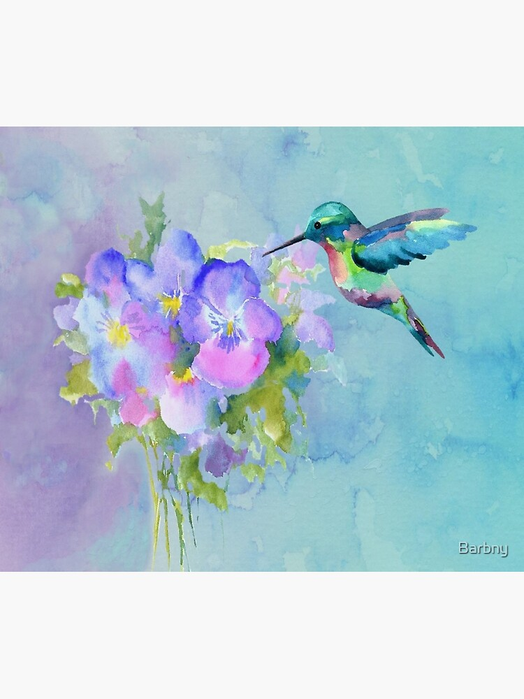Hummingbird and Pansies by Barbny