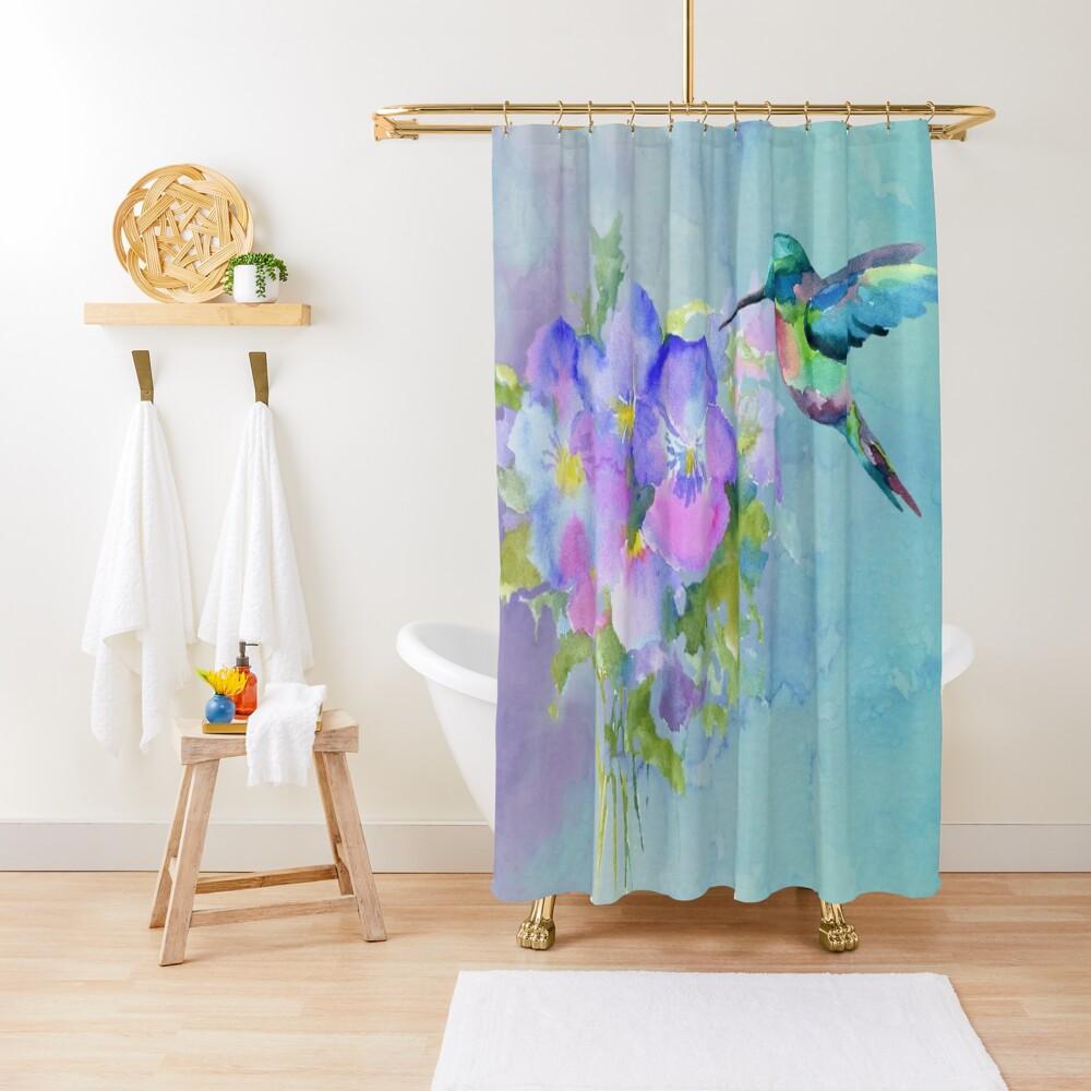Hummingbird and Pansies Shower Curtain
