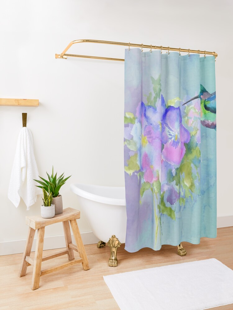 Alternate view of Hummingbird and Pansies Shower Curtain