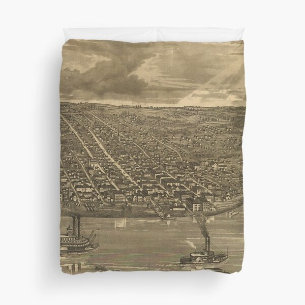 Vintage Pictorial Map of Davenport IA (1875) Duvet Cover