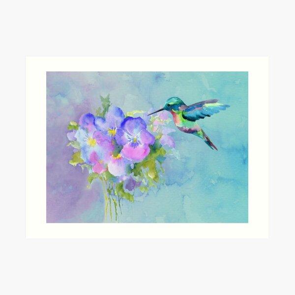 Hummingbird and Pansies Art Print
