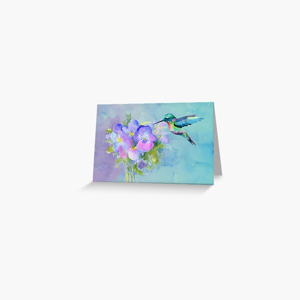 Hummingbird and Pansies Greeting Card