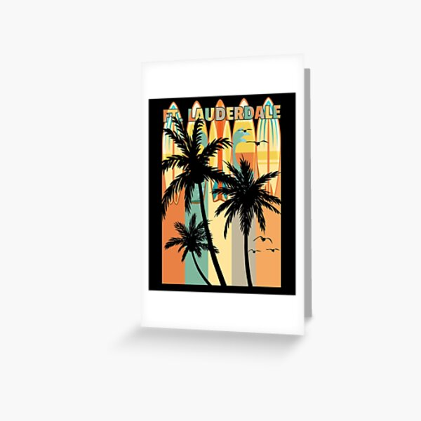 Ft Lauderdale Palm Trees & Seagulls & Surfboards Greeting Card