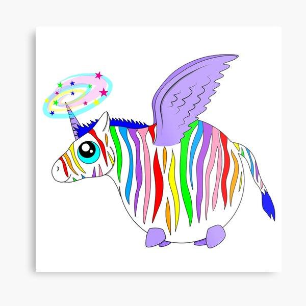 Rainbow Zebra-fly Metal Print