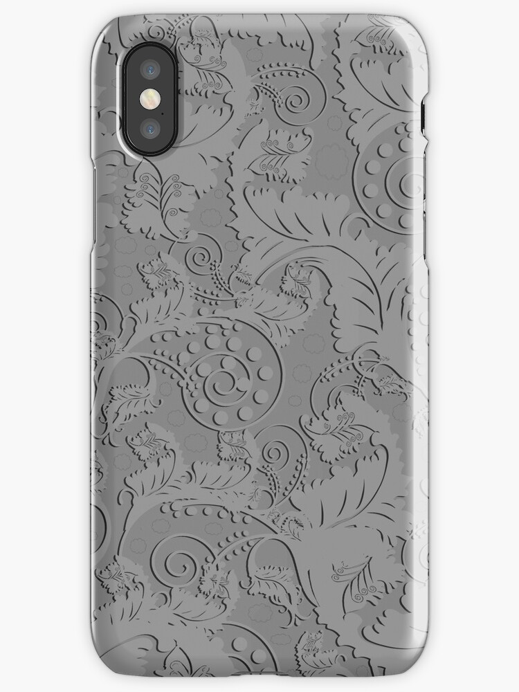 Grey on Grey Damask Iphone and Ipod Cases by Clickcreations