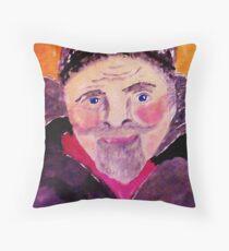 Old man with fur cap, watercolor Throw Pillow
