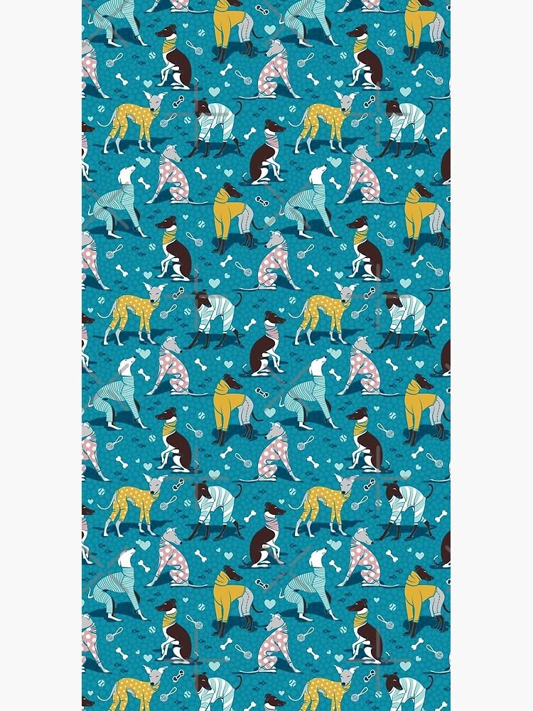 Greyhounds dogwalk // turquoise background by SelmaCardoso