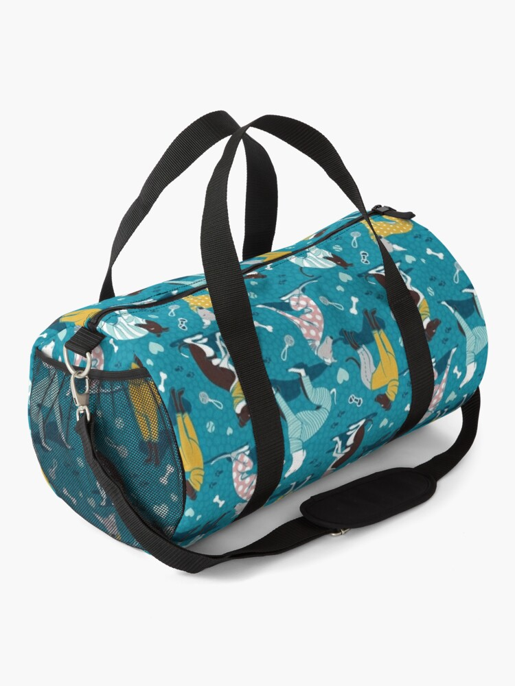 Alternate view of Greyhounds dogwalk // turquoise background Duffle Bag