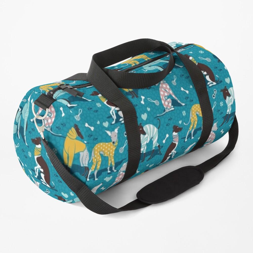 Greyhounds dogwalk // turquoise background Duffle Bag