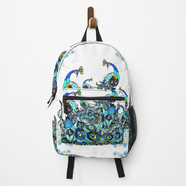 peacock art deco vintage stained glass design by mysticladyart  Backpack
