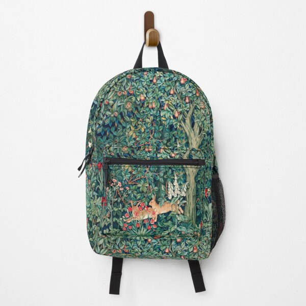 GREENERY, FOREST ANIMALS Hares Blue Green Red Floral Tapestry Backpack