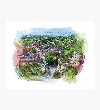 Nottingham city watercolor  Photographic Print