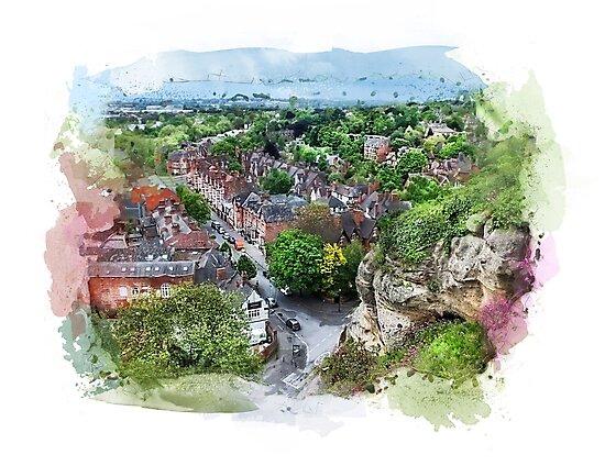 Nottingham city watercolor  by JBJart