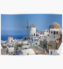 Oia, Santorini Windmills Poster
