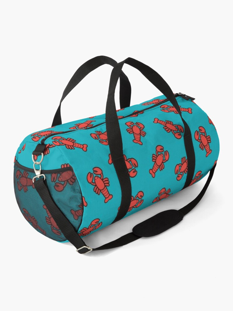 Alternate view of Lobsters Pattern on Turquoise Blue Duffle Bag