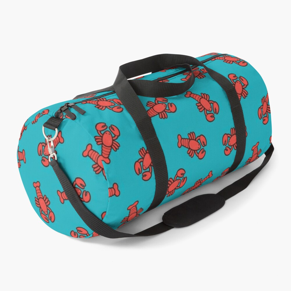 Lobsters Pattern on Turquoise Blue Duffle Bag