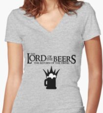 Lord of the Beers - Return of the Drink Women's Fitted V-Neck T-Shirt