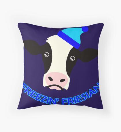 Freezin' Friesian Throw Pillow