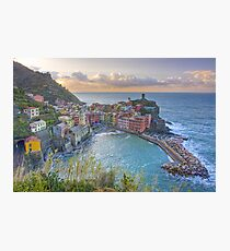 Vernazza Morning Clouds, Cinque Terre, Italy Photographic Print