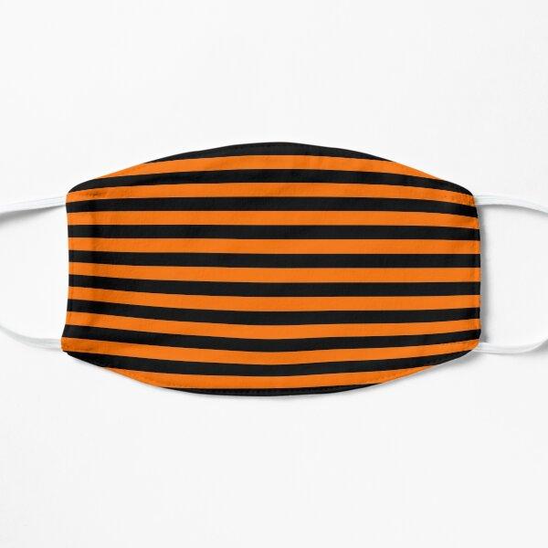 Dark Pumpkin Orange and Black Horizontal Witch Stripes Flat Mask