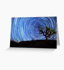 Stunning Circular Star Trails Above Joshua Tree Desert Greeting Card