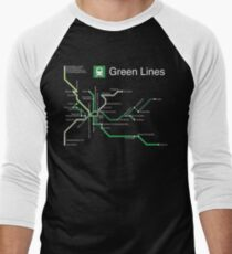Green Lines (white) Men's Baseball ¾ T-Shirt