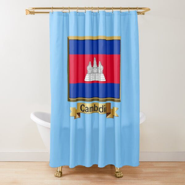 Cambodia Flag Gifts, Stickers & Products (N) Shower Curtain