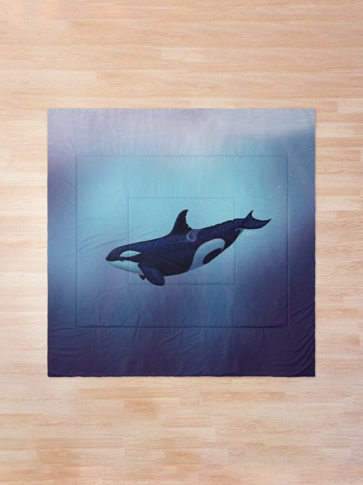 """Alternate view of """"Lost in Fantasy"""" by Amber Marine ~ orca / killer whale art, © 2015 Comforter"""