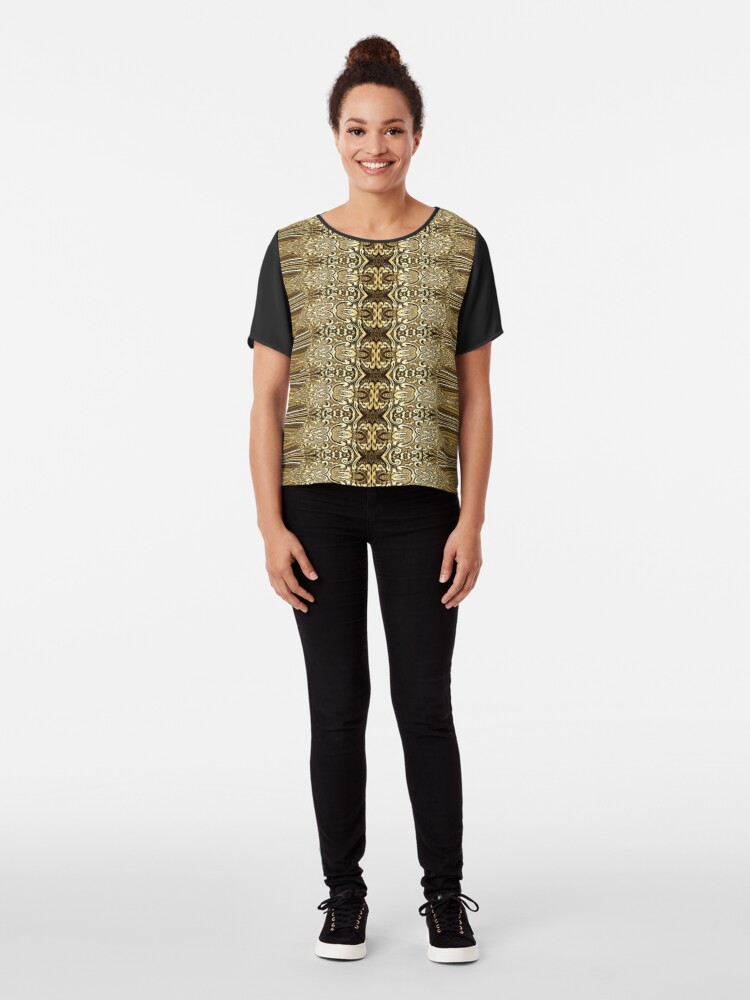 Alternate view of Golden Floral (3)  Chiffon Top