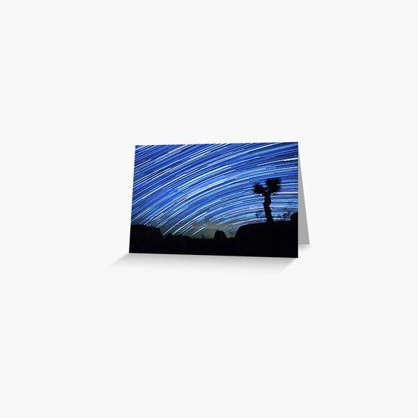 Star Trails Sweep Over Joshua Tree Night Desert Greeting Card