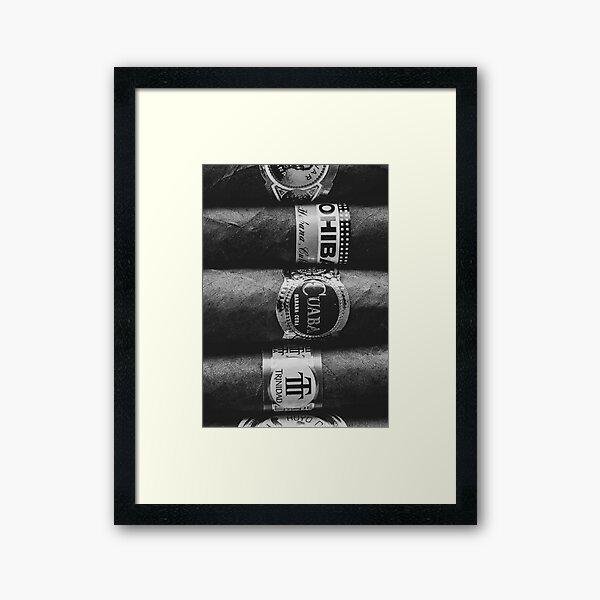 Cuban Cigars Grey Framed Art Print