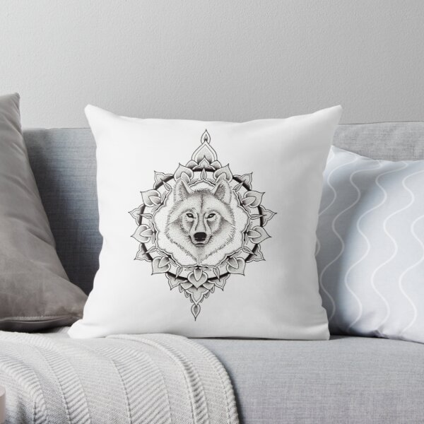 Pen and ink dotwork wolf mandala Throw Pillow