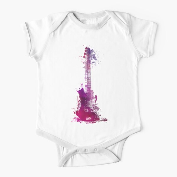 Funky purple guitar Short Sleeve Baby One-Piece