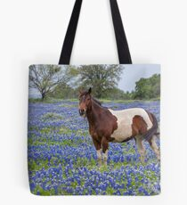 Horse in Texas Bluebonnets Tote Bag