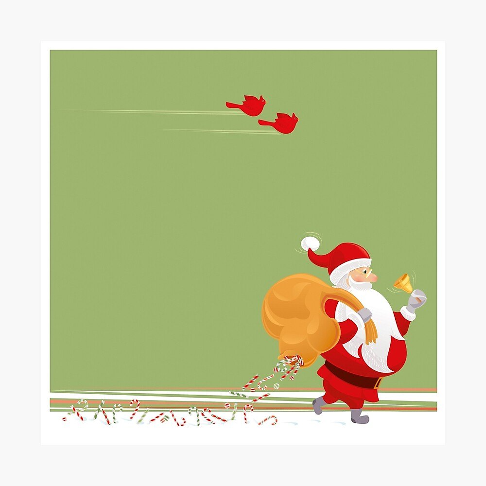 Santa and small red birds Photographic Print