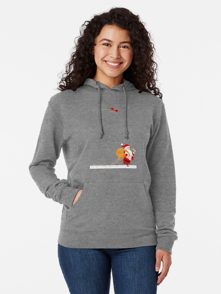 Alternate view of Santa and small red birds Lightweight Hoodie