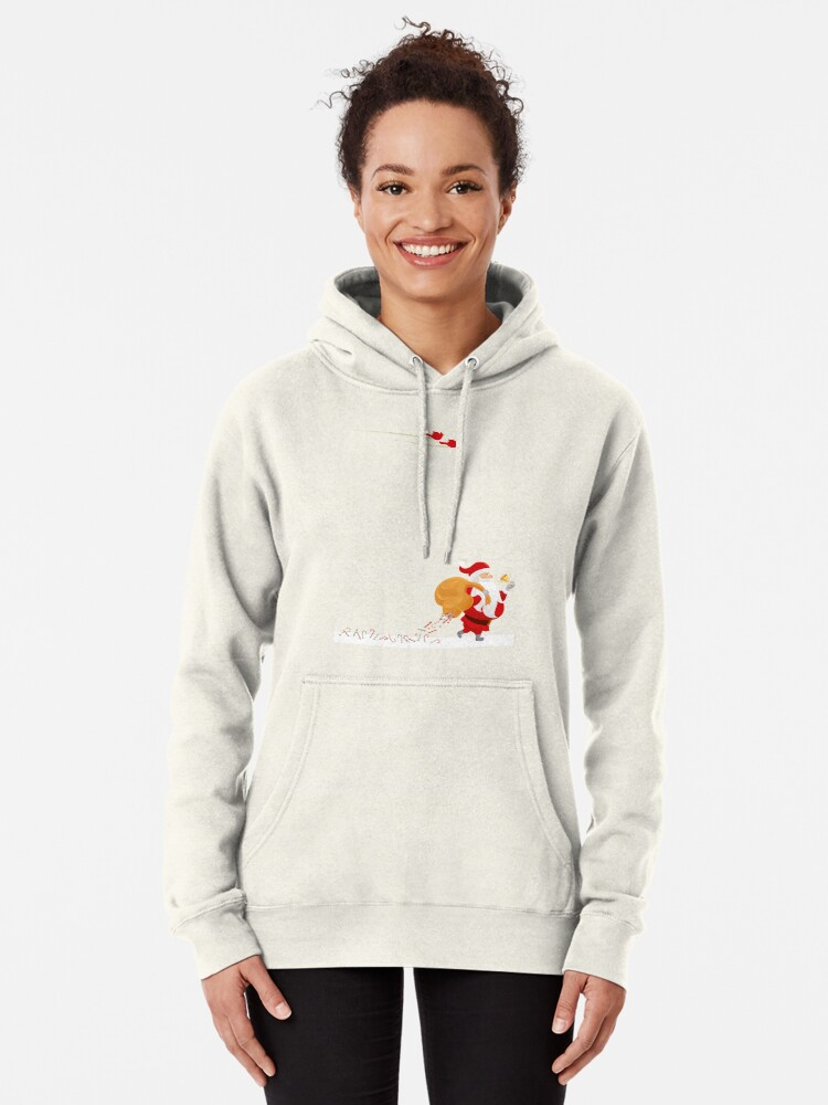 Alternate view of Santa and small red birds Pullover Hoodie