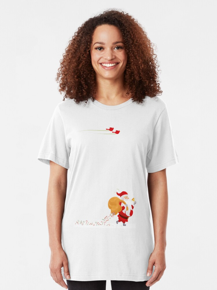 Alternate view of Santa and small red birds Slim Fit T-Shirt