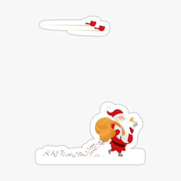 Santa and small red birds Sticker
