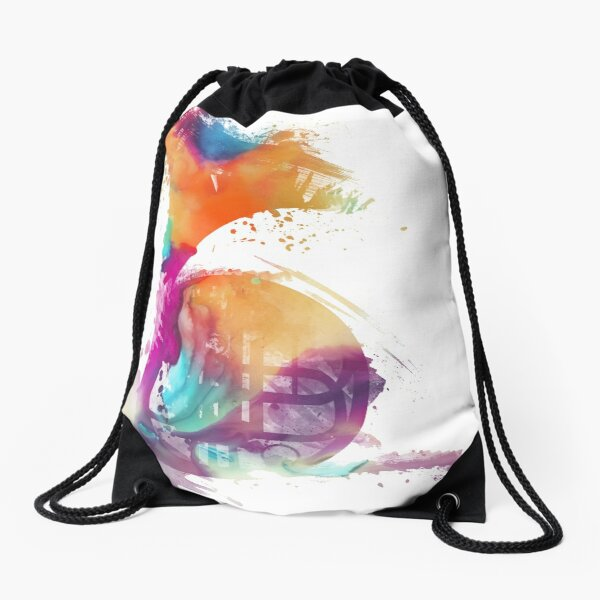 French horn colored musical instruments Drawstring Bag