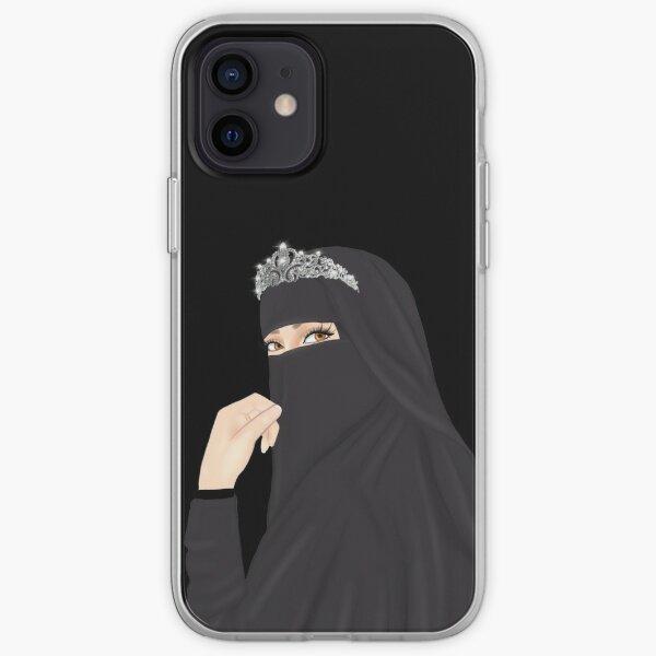 Niqab hijab princesse dessin portant une couronne Coque souple iPhone