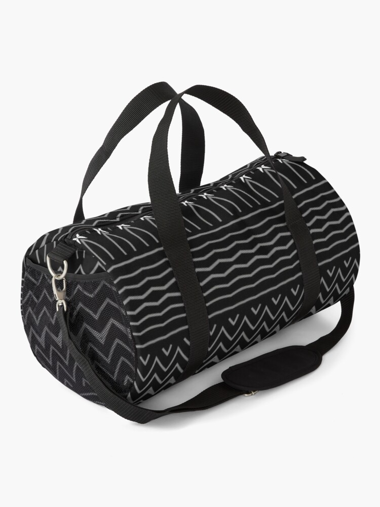 Alternate view of Minimalist Black and White Decorative Pattern Duffle Bag