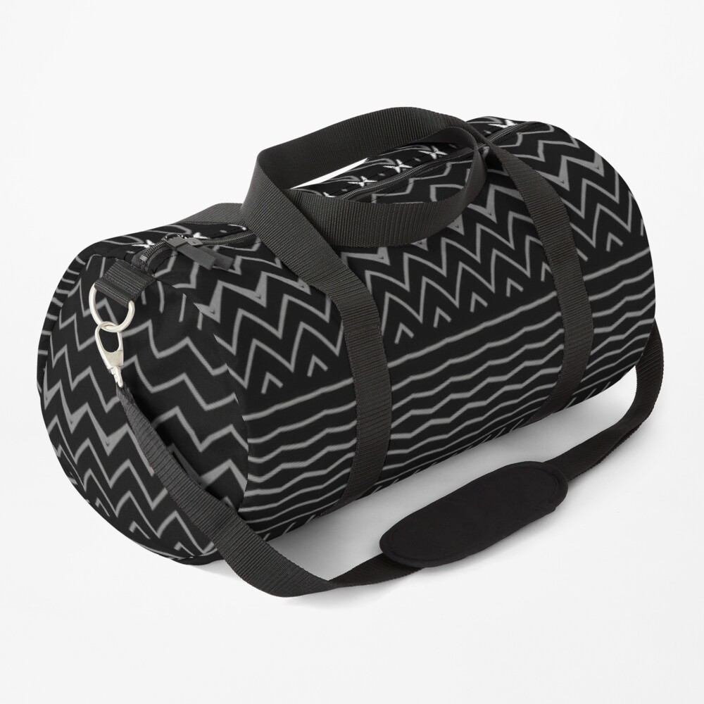 Minimalist Black and White Decorative Pattern Duffle Bag