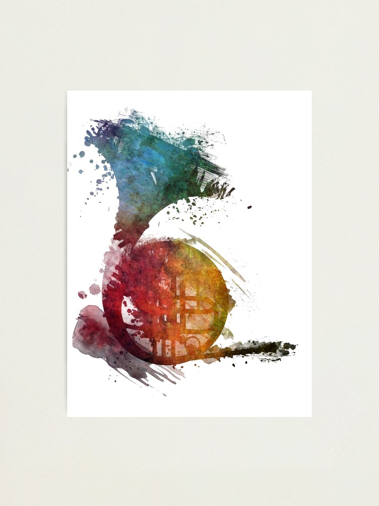 Alternate view of French horn watercolor  Photographic Print
