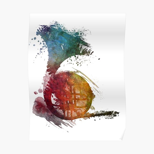 French horn watercolor  Poster