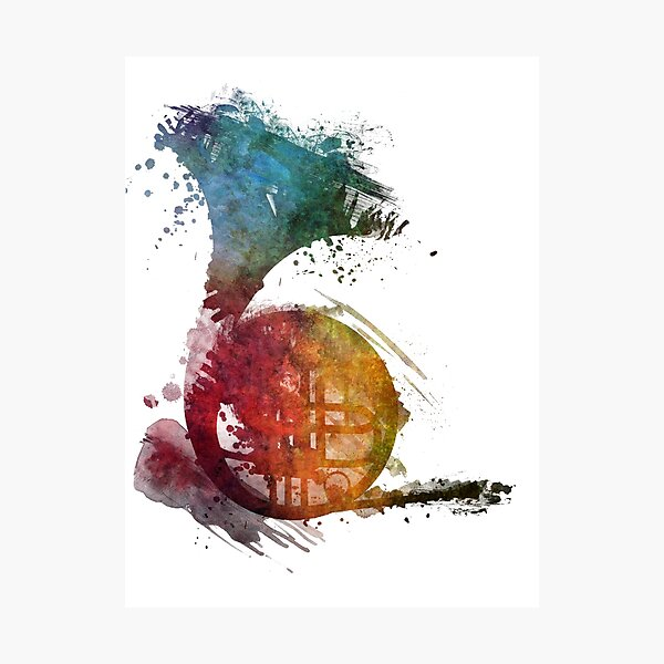 French horn watercolor  Photographic Print