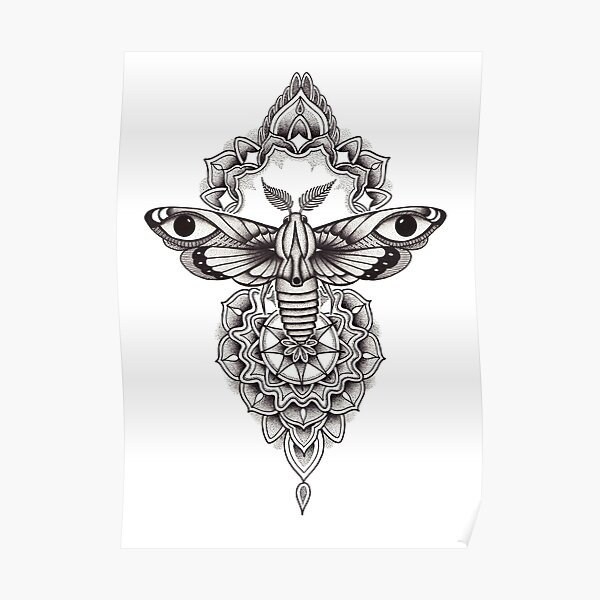 Pen and ink dotwork moth mandala Poster