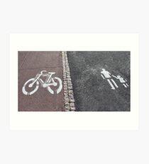 Walk and bike path Sign Art Print