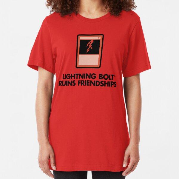 Lightning Bolt Ruins Friendships Slim Fit T-Shirt